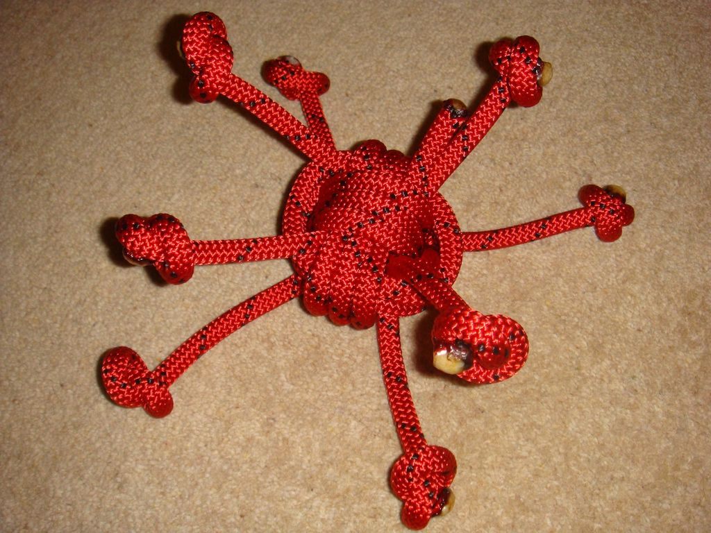 DIY Dog Toy - Red Rope Spider Toss